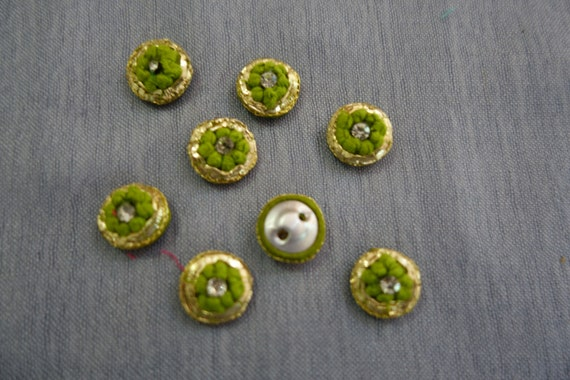 Hand Embroidered Light Green Gold Buttons with Central Crystal - Light Green Button