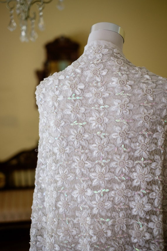 White Lace Fabric - Hand Beaded Fabric - Floral Dress Fabric - Bridal Dress - Summer Fabric - Sequin Dress Fabric - Sequin Dress