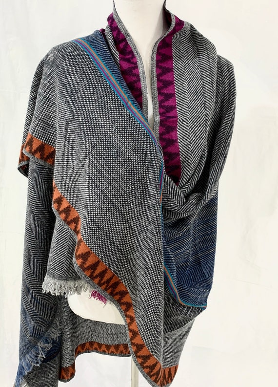 Oversized winter wrap, Super soft cotton wool wrap shawl, grey soft wool n cotton blend shawl, soft and feel good wrap