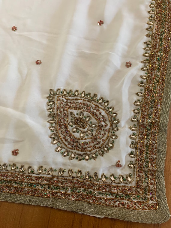 Antique gold border sari,Hand Beaded Cream Poly Crepe Sari, Traditional Style Indian Dress, Sewing Fabric