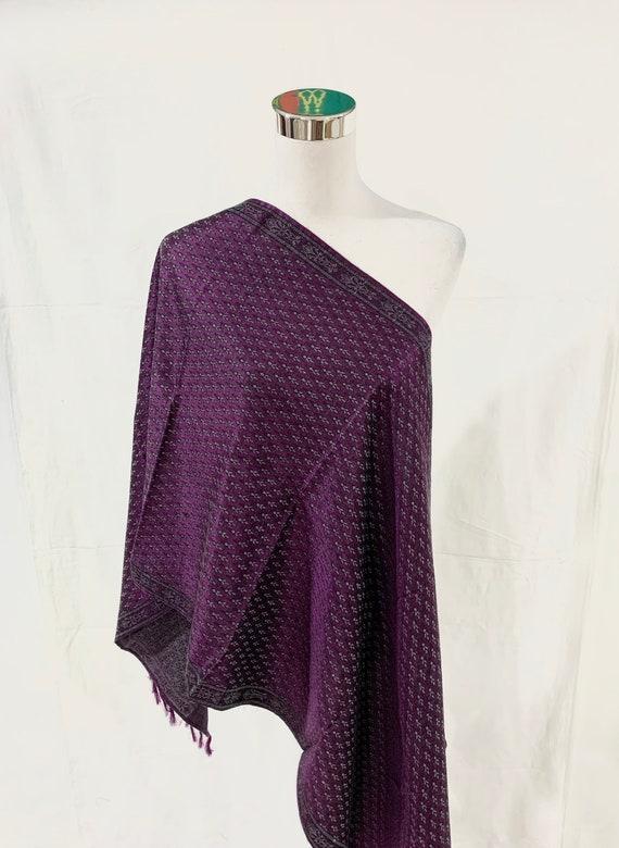 Purple silk wool shawl, Hand woven silk wool shawl,  purple Jacquard shawl, winter or spring shawl