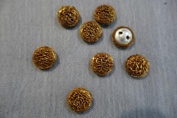 Hand Embroidered Buttons - Golden Metallic Buttons - Metallic Thread & Cord