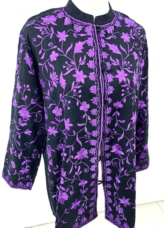 Black Woollen jacket, Black embroidered jacket for women,Winter n spring jacket,Purple embroidered jacket, fashion Jacket