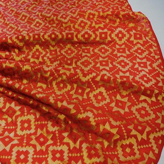 Brocade Fabric - Silk Brocade Fabric - Silk Embroidery - Red Brocade - Chanderi Art Silk Fabric - Bridal Dress Fabric - Gold Brocad