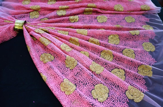 Pink Silk Fabric - Pink Tulle Fabric - Gold Sequins Fabric - With All Over Embroidery