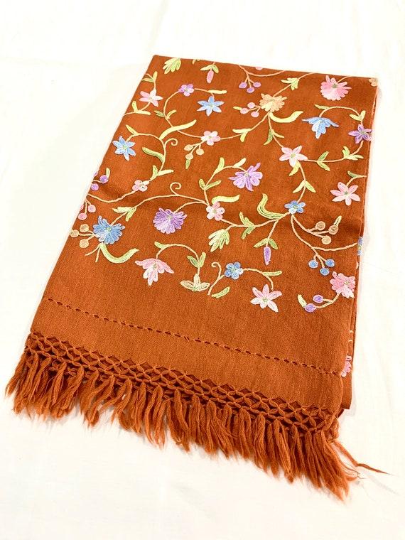 Rust colour woollen shawl,Floral hand Embroidered wool shawl,All over embroidered shawl,Hand fringed shawl.