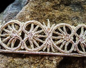 Golden zardosi applique trim with delicate handwork