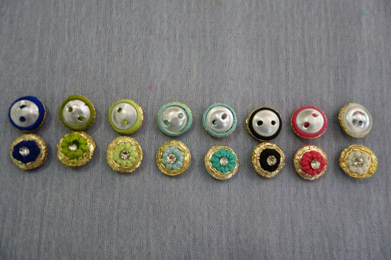 Hand Embroidered Button Crystal Buttons With Central Crystal Ideal for Special Occasions and Everyday Wear Navy Blue Gold Buttons
