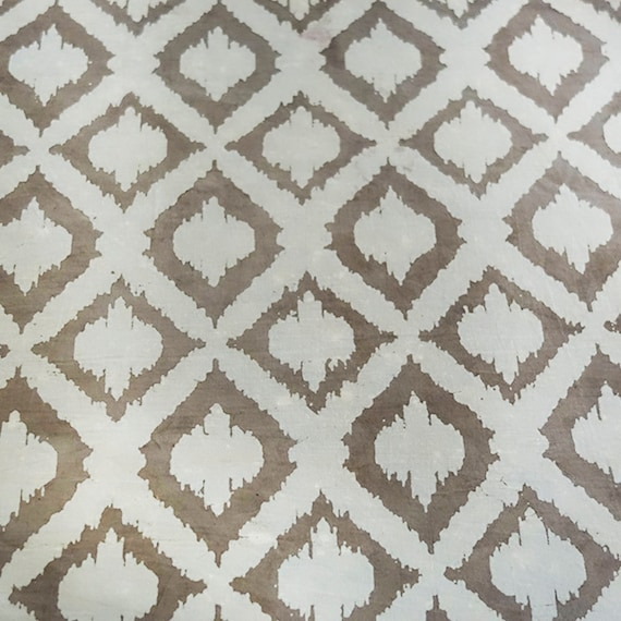 Beige and cream Cotton Printed fabric