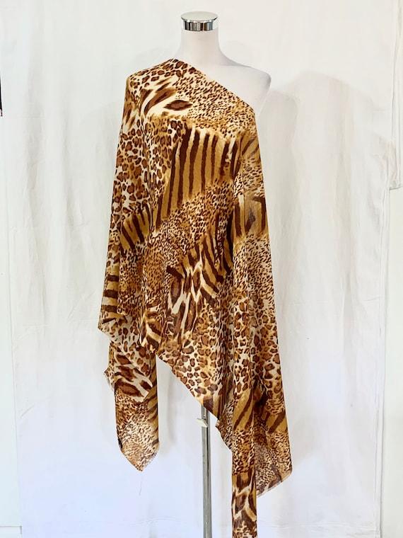 Animal pattern silk wool shawl, soft n light shawl, women fashion shawl, all season shawl, formal n casual wrap, feel good shawl.