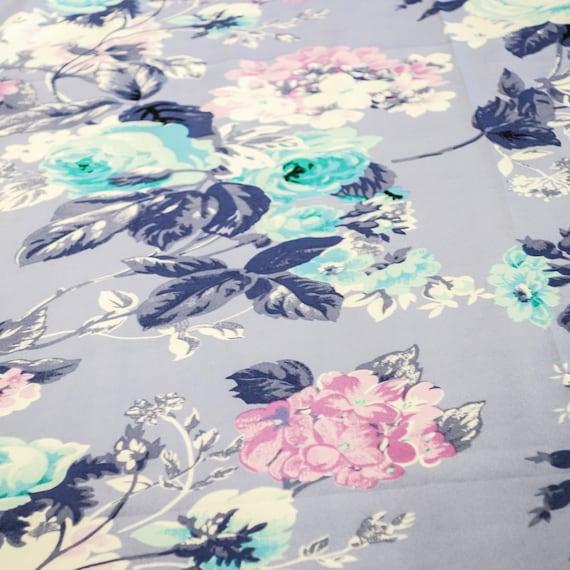 Floral Print Fabric - Multicoloured Polycotton Fabric - Blue Floral Print Fabric