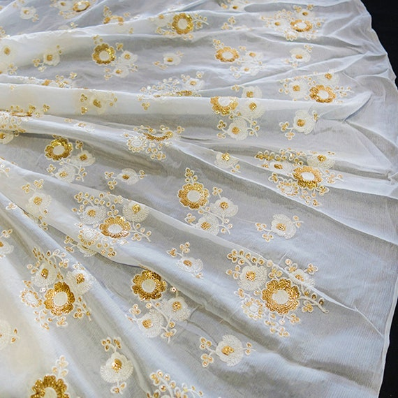 Elegant Sheer Fabric - Flower Beads Fabric - Wedding Gown Fabric - Embroidered With Cream Silk Thread & Gold Sequins