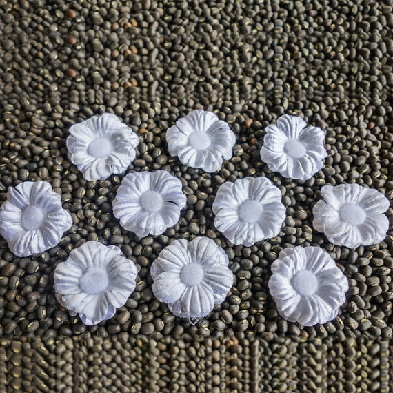 Small White Layered Fabric Flowers with 10 Petals