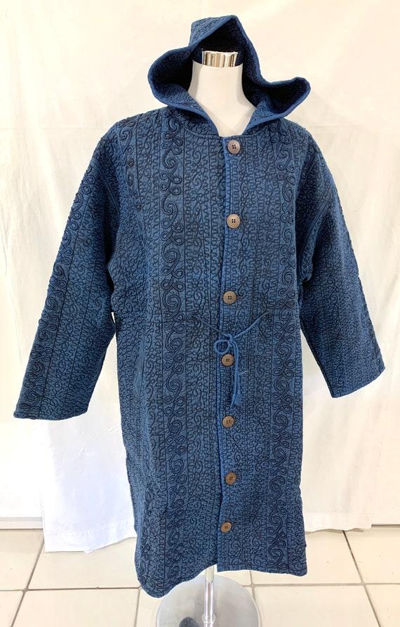 Blue large size Hoodie jacket, cotton quilted jacket, Stone washed jacket,Long jacket.