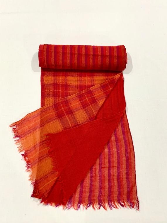 3 in one wool scarf, Red 3 layers wool scarf, Plain n strip n check soft woollen scarf, His and Her scarf,, Designer woollen scarf.