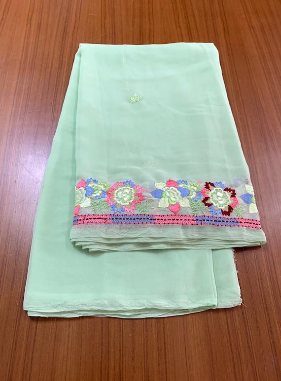 Green Chiffon Sari, Silken Thread embroidered sari,Floral Ultra fine Polyester Saree, Traditional Style Indian Dress, Sewing Fabric