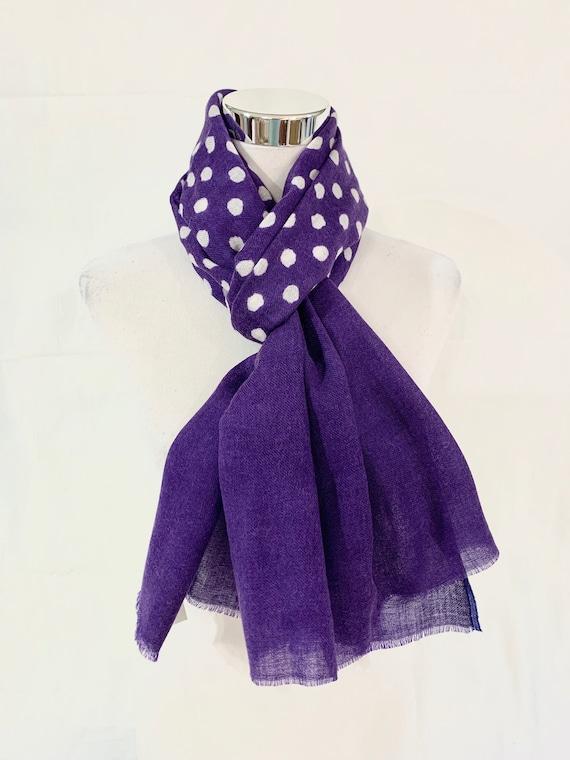 Purple silk wool scarf,  purple polka dot scarf, fashion scarf, Her n His scarf,  soft n feel good scarf, formal n casual scarf.