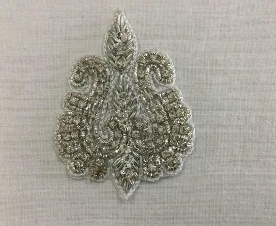 Crystals Applique - Embroidered Applique - Bridal Applique - Silver Applique - Wedding Applique - Hand Embroidered - Silver Zardosi Threads
