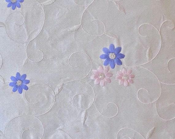 Ivory White Fabric - Silk Dupioni Fabric - Embroidered Fabric - White Vine and Lavender Daisies - Girls Summer Dress
