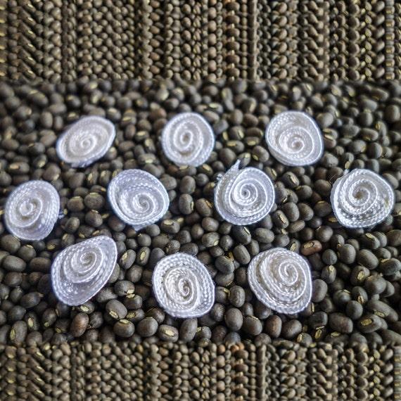 Miniature White Coiled Ribbon Roses