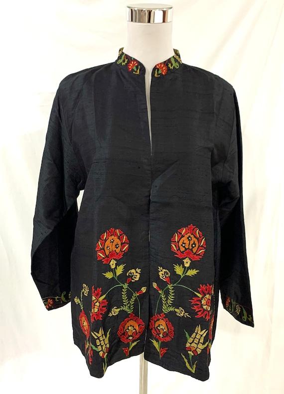 Black silk Jacket, Black embroidered jacket,Woman silk jacket, Black party jacket, reversible silk Jacket