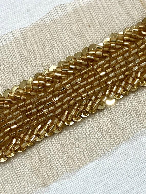 Antique Gold beaded trim, hand embroidered trim,Bridal trim,Bridal sash trim,Sari border, Fashion trim.
