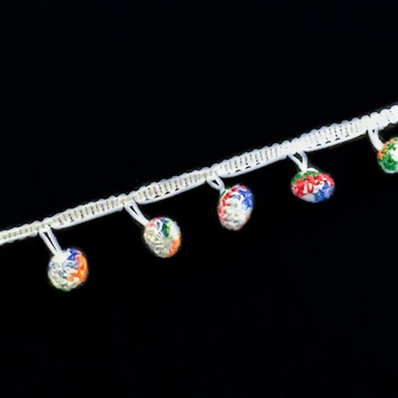 White  cotton trim with multicolour crochet pom pom tassels