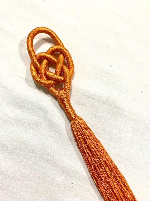 Orange silken tussles, hand made luxe tussles fringes, orange hand knotted tussles