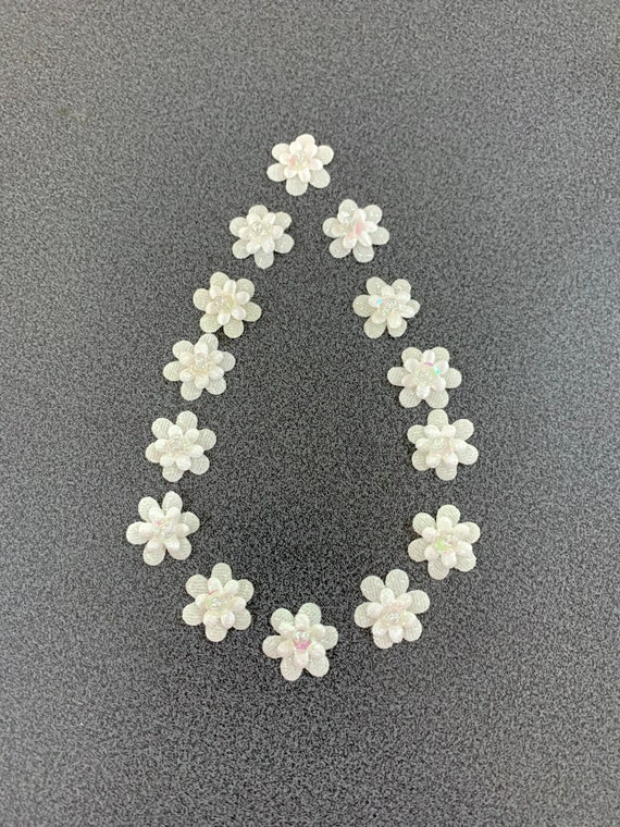 Small White fabric Flowers,Glittering white Flowers, white layered flowers