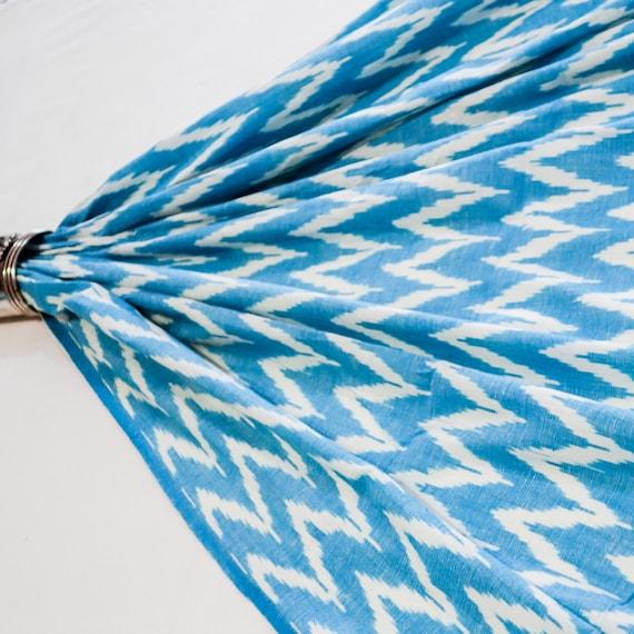 Pure Ikat Cotton Fabric - Aqua and White Fabric - Girls Summer Dress