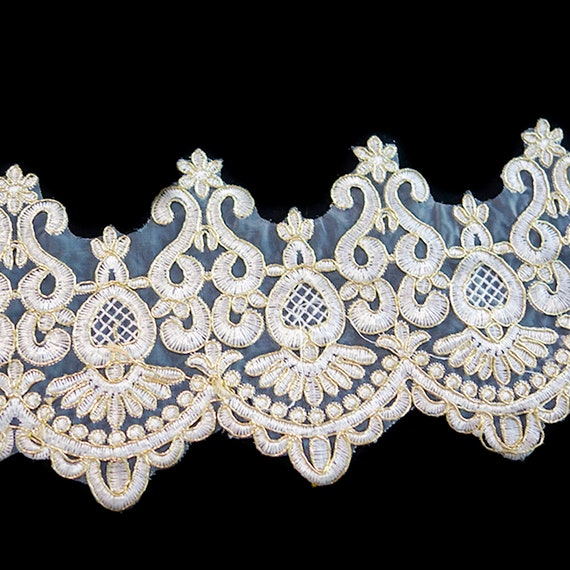 White sheer cut work trim with cream and gold embroidery