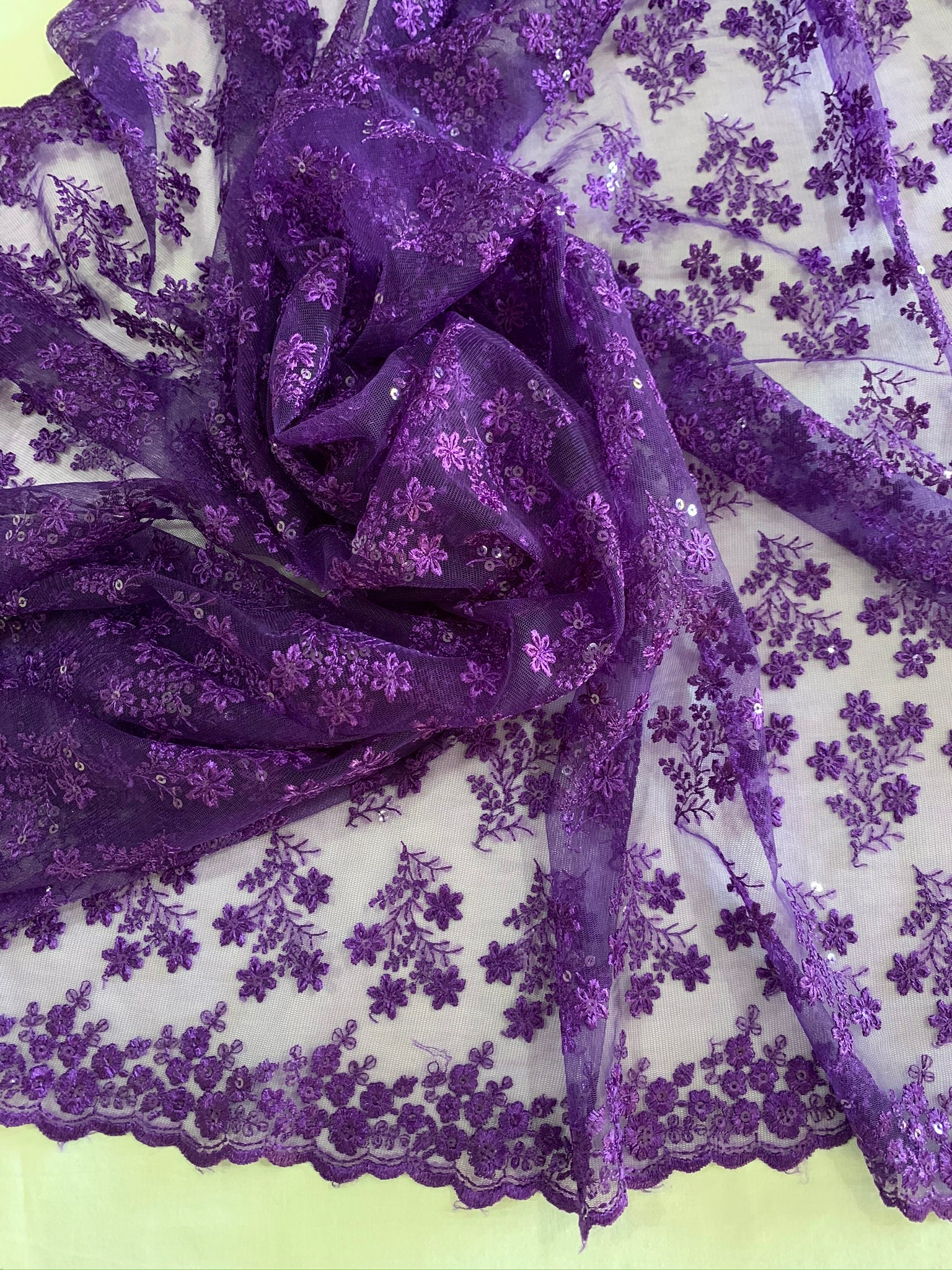 Ultra Thin Purple Floral Lace Embroidered Material Silk Thread Sequins Tulle Fabric Traditional Dress Shawl Saree Veil