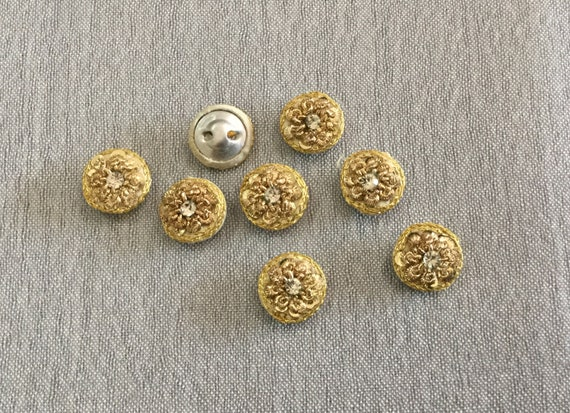Hand Embroidered Golden Metallic Buttons with Central Crystal - Golden Button