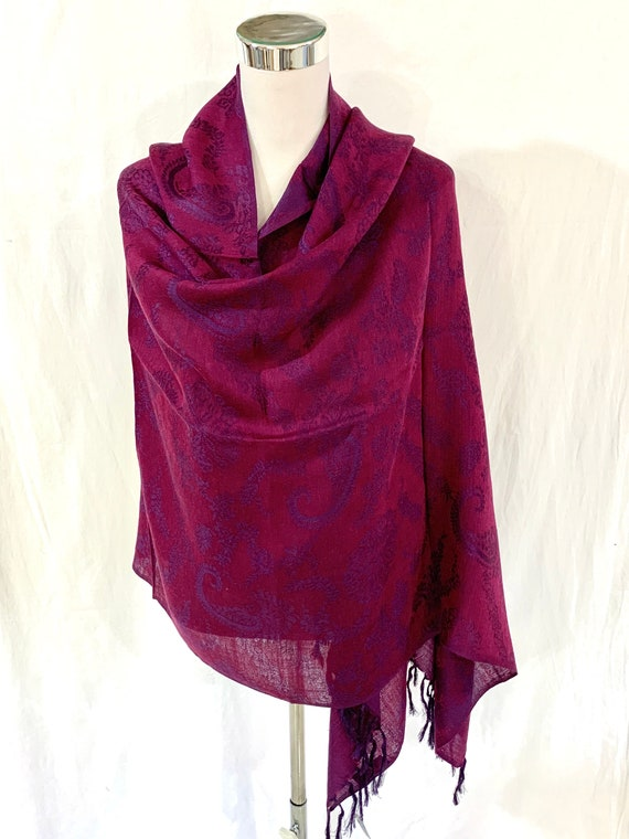 Deep Magenta shawl, violets n magenta silk wool shawl, large size wrap, women's fashion wrap, all season shawl, formal n casual wrap.