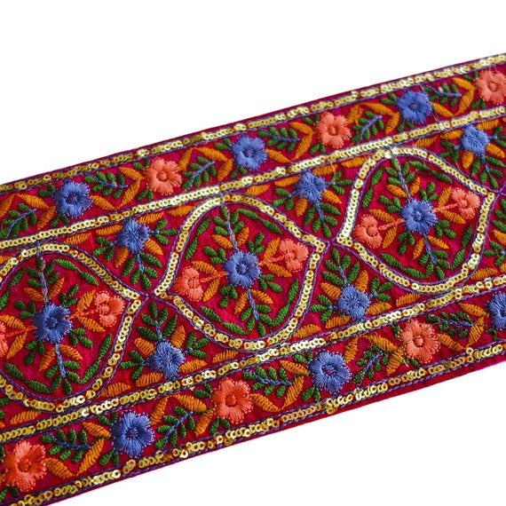 Hand Embroidered Red Trim with Multi-Coloured Silk Threads & Miniature Sequins