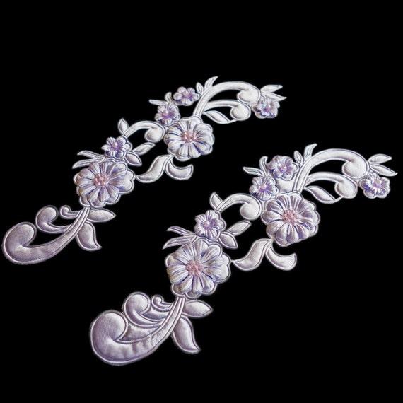 Beaded Applique - Bridal Applique - Pearl Bead Applique - Pale Purple Beaded - Floral Filigree Applique Set - Embroidered Applique