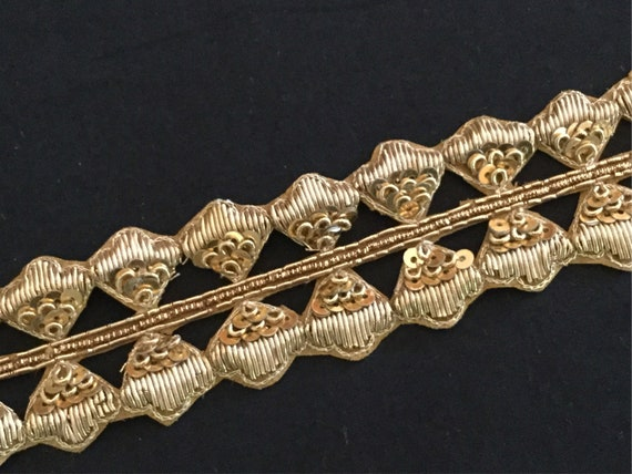 Traditional Antique Golden Organza Trim with Gold Sequins & Metallic Zardosi Threads