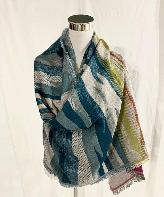 Reversible shawl, cotton wool shawl, aqua blue n pink shawl, all season shawl, feel good shawl, fashion shawl, women spring shawl,.