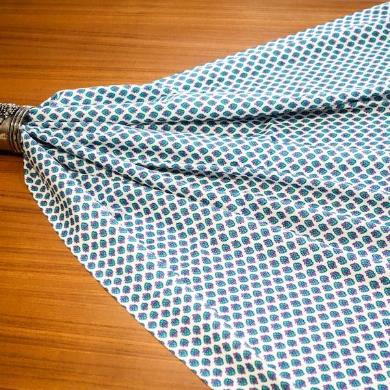White Cotton Fabric - Hand Blocked Print - Girls Summer Dress - Lavender and Soft Aqua Blue Fabric