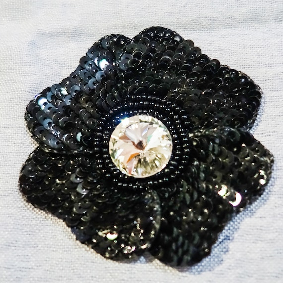Black Sequin Applique with Black Seed Beads & Large Rhinestone