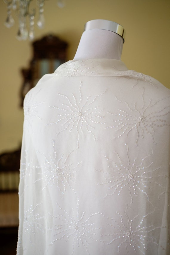 White Silk Fabric - Ivory Silk Georgette Fabric - Girls Summer Dress Fabric - With Hand Beaded Fireworks