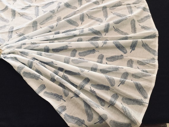 White Cotton Fabric with Delicate Feather Print