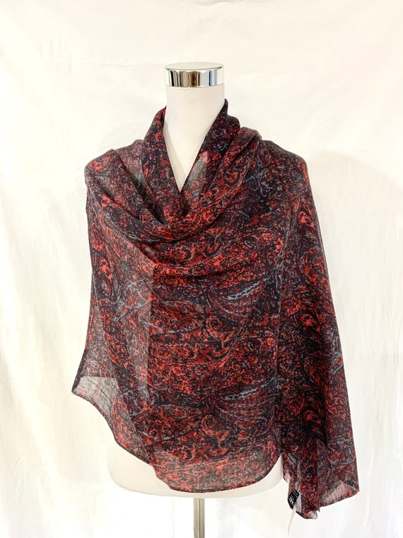 Silk wool shawl, Black n red paisley shawl, soft n light silk wool shawl, all season shawl, gifting shawl ,comfortable wrap