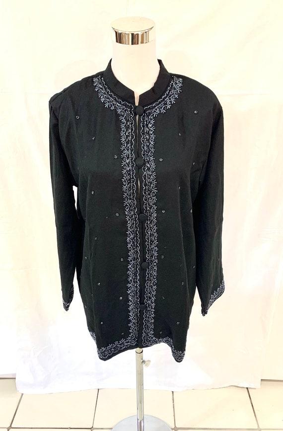 Black woollen Jacket,Black hand beaded Jacket, formal jacket, Black evening wear jacket