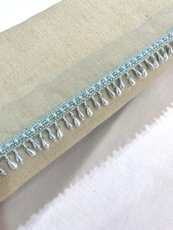 Soft Blue bead fringed trim, soft blue pearl trim, hand beaded trim, Blue hand embroidered trim, Edging trim, hanging beads trim, party trim