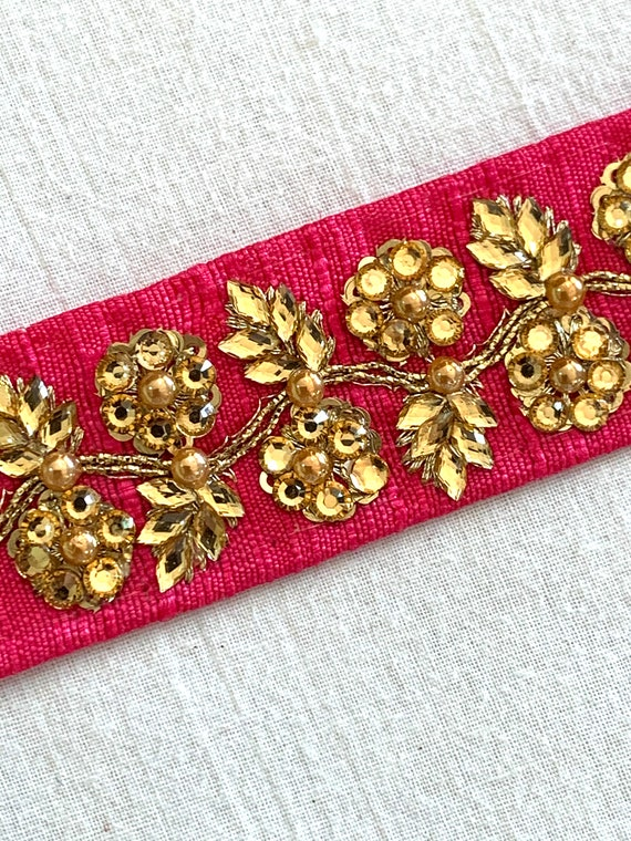Hot Pink Embroidered Raw Silk Trim, Gold Crystals Floral Style,Golden Chord, Traditional Indian Sari Border, Belly Dance Costume, Boho Trim