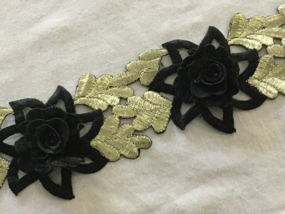Black and Gold Floral Trim with Cut Work & Metallic Threads