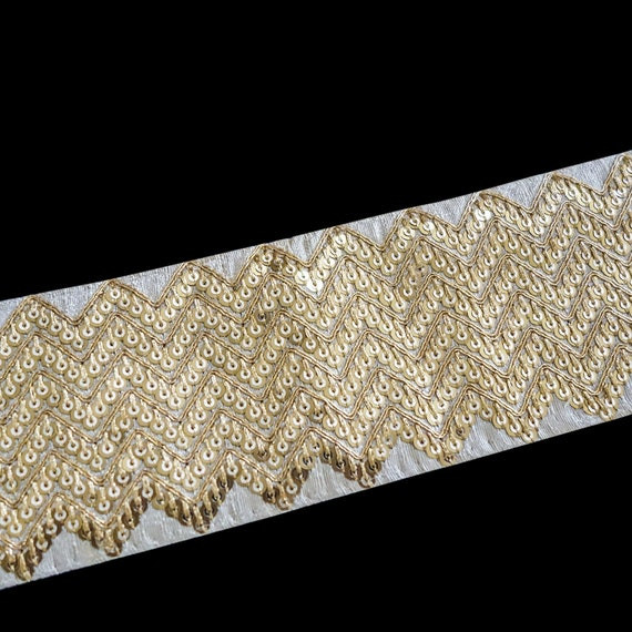 Raw Silk Golden Sequin Trim - Sequin Trim