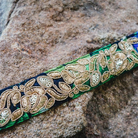 Golden/black blue green tone embroidered with fine golden on  silk velvet trim