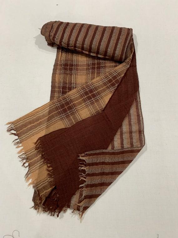 3 in one wool scarf, Brown 3 layers pure wool scarf, Plain n strip n check soft woollen scarf, His and Her scarf,, Designer woollen scarf.